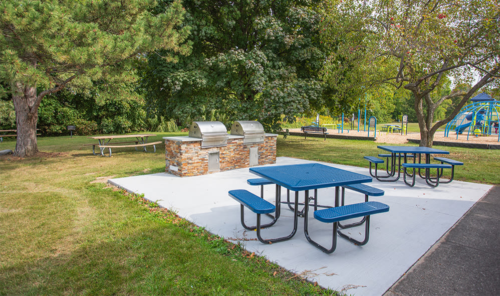 Grill stations at Waverlywood Apartments & Townhomes in Webster, New York