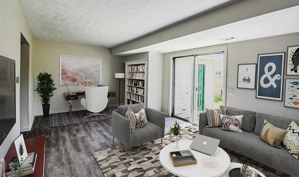 Naturally well-lit Living Room at Waverlywood Apartments & Townhomes in Webster, New York