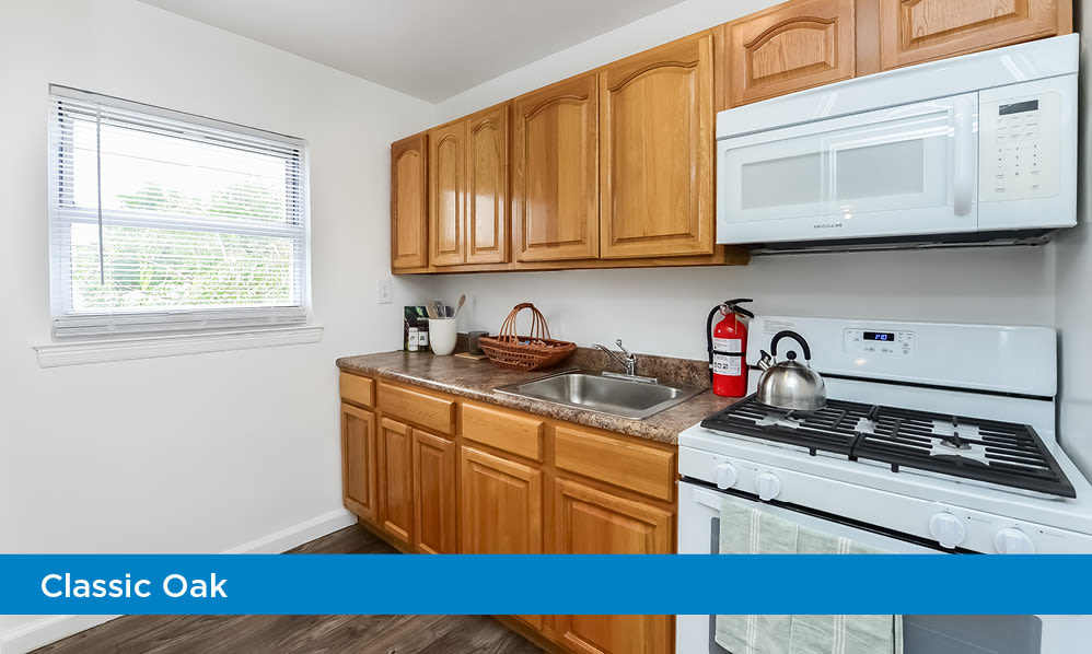 Naturally well-lit kitchen at apartments in Elmwood Park, New Jersey