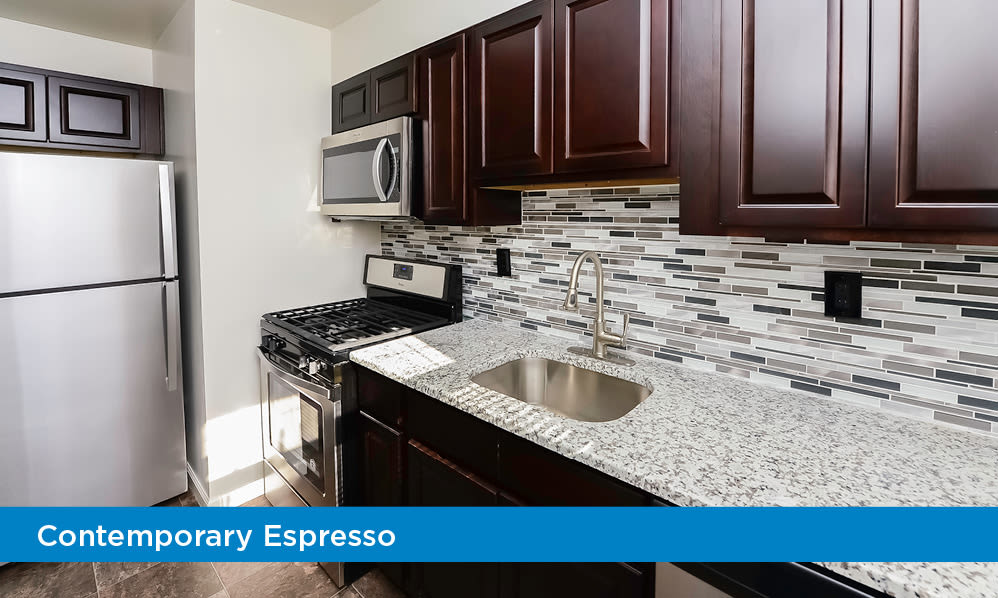Renovated kitchen at apartments in Elmwood Park, New Jersey