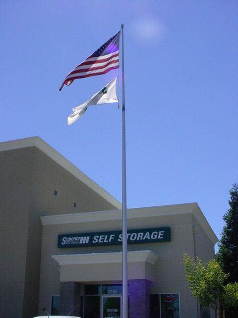 American flag in front of Superior Boat, RV & Commercial Self Storage in Folsom, California