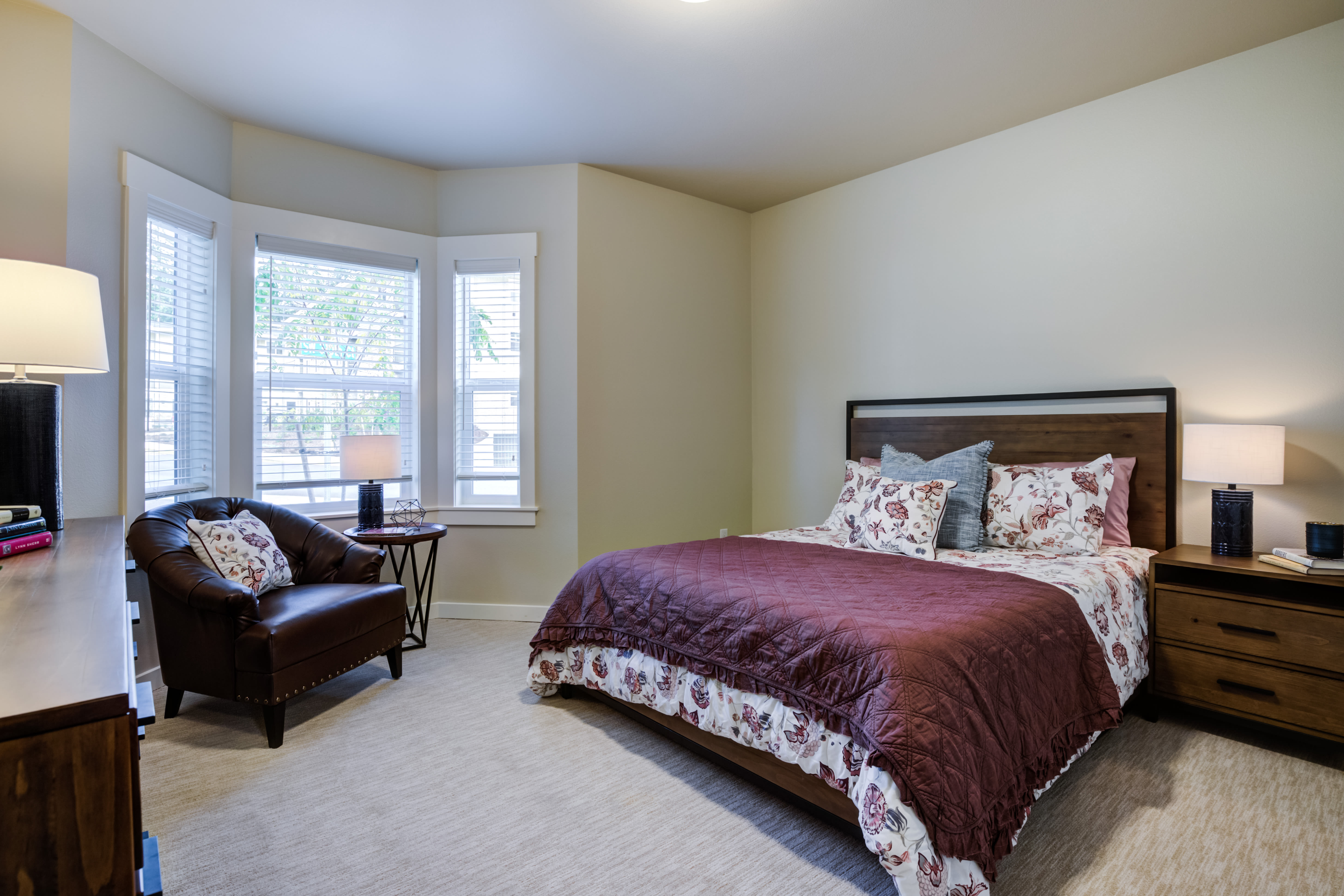 Independent Living Cottage Bedroom One at Mirror Lake Village Senior Living Community in Federal Way, WA