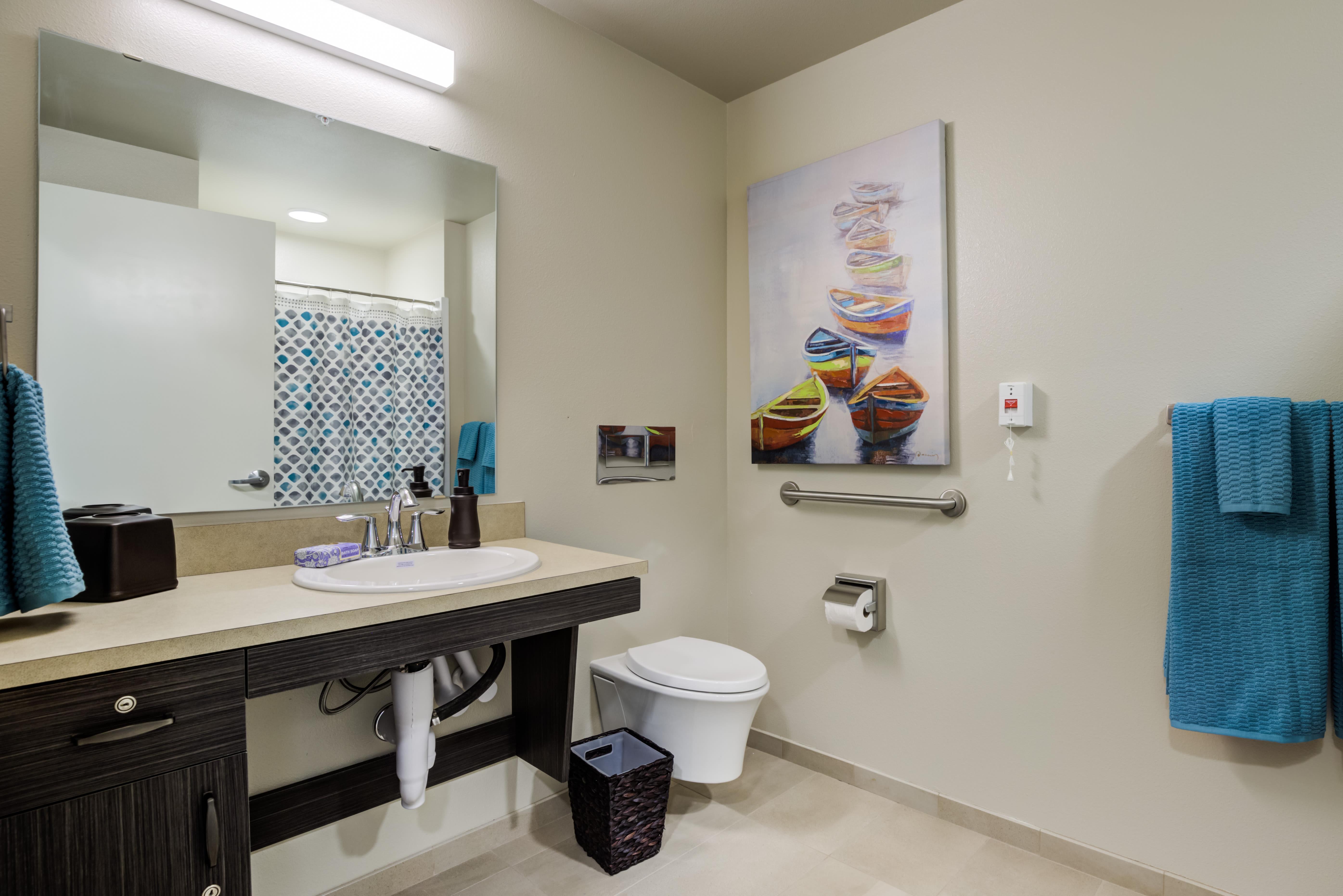Mirror Lake Village Senior Living Community Bathroom in Federal Way, WA