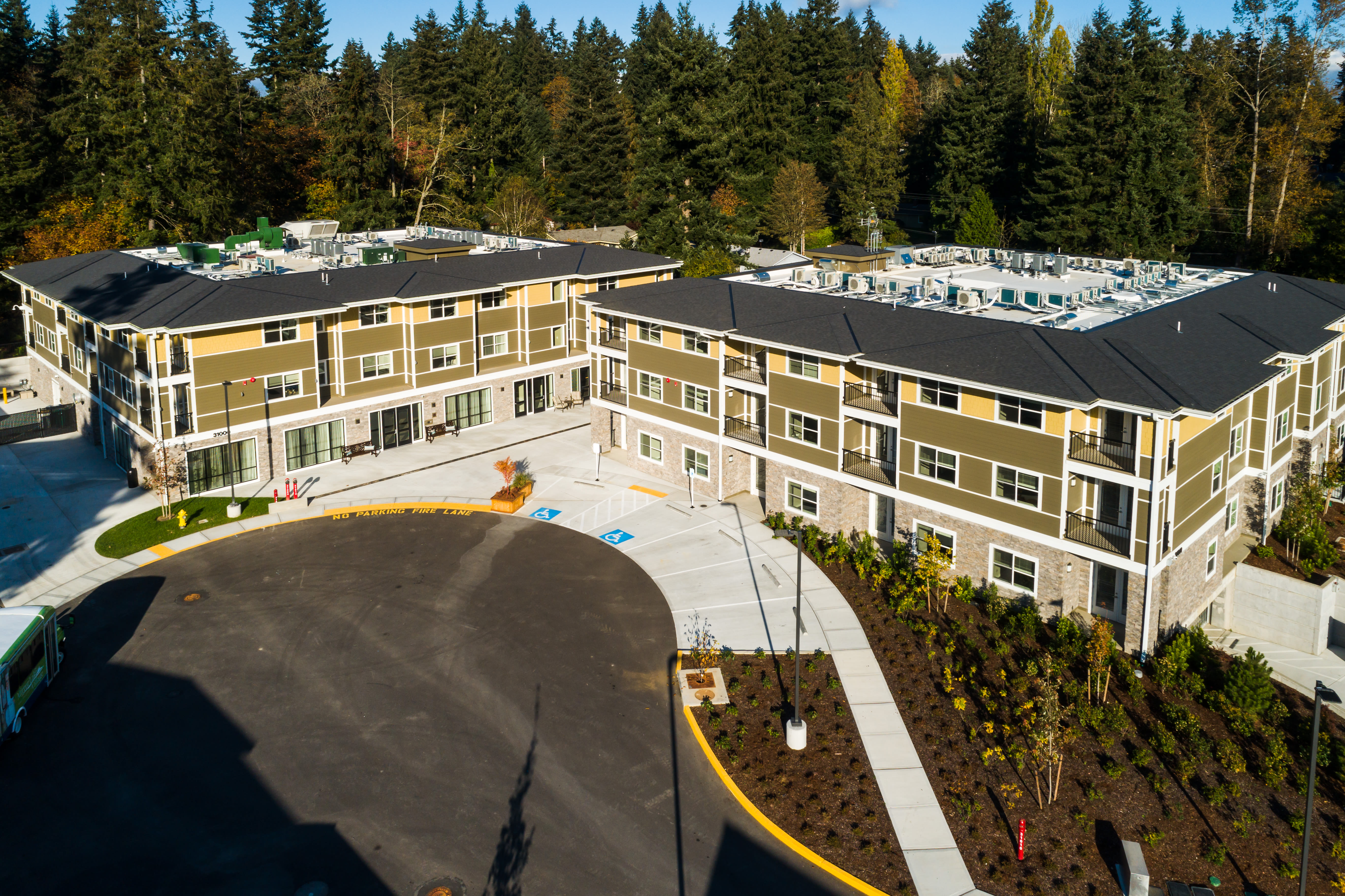 Ariel View of Assisted Living and Memory Care Campus at Mirror Lake Village Senior Living Community in Federal Way, WA