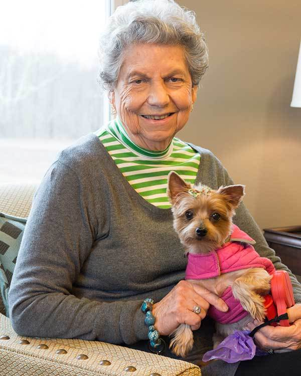 Resident and her dog at The Stilley House Senior Living in Benton, Kentucky.