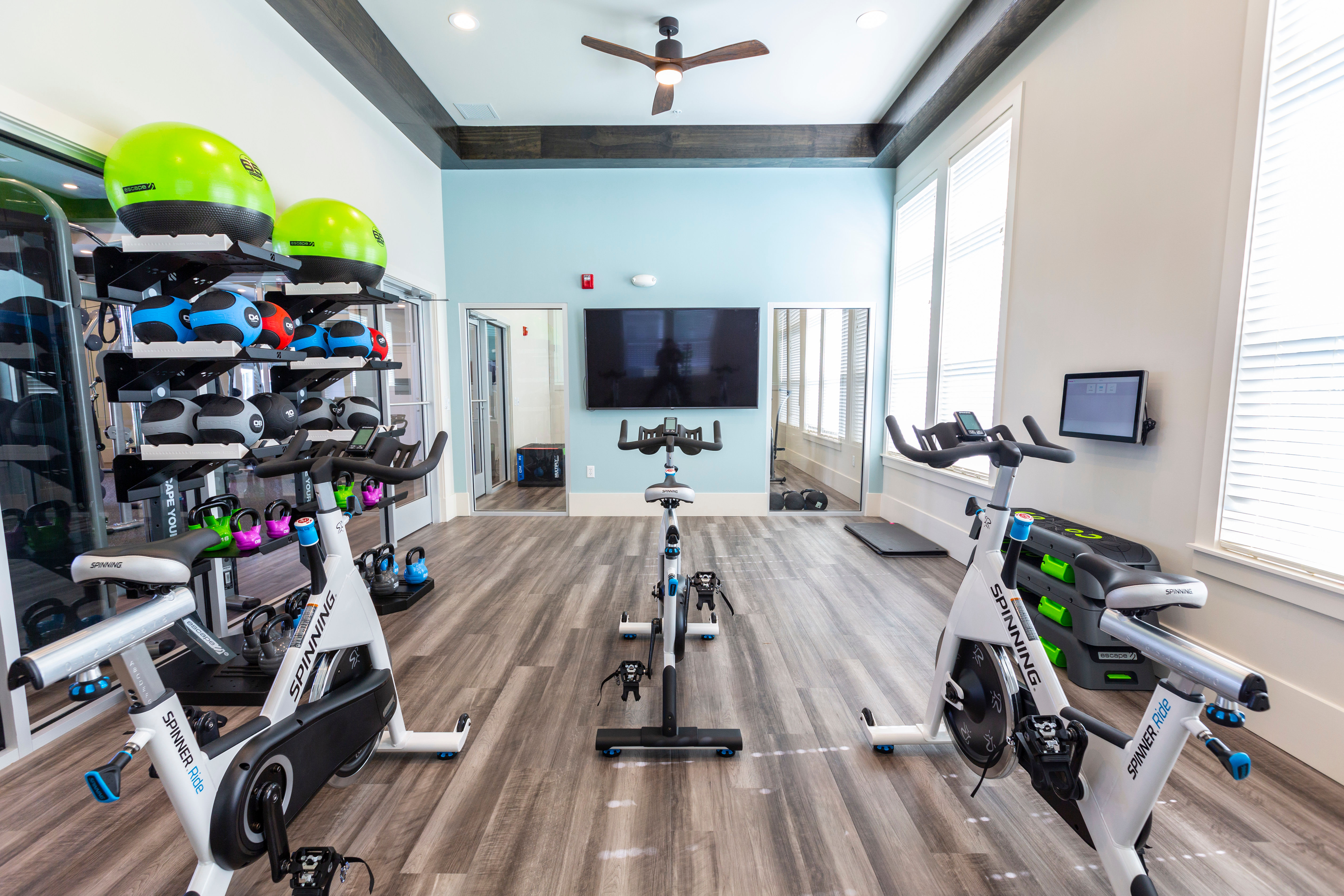 Spin room in the fitness center at Parc at Wesley Chapel in Wesley Chapel, Florida