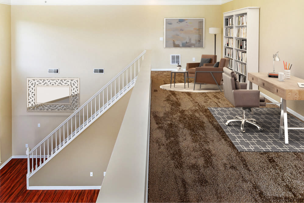 Upstairs loft area at The Waterfront Apartments & Townhomes in Munhall, Pennsylvania