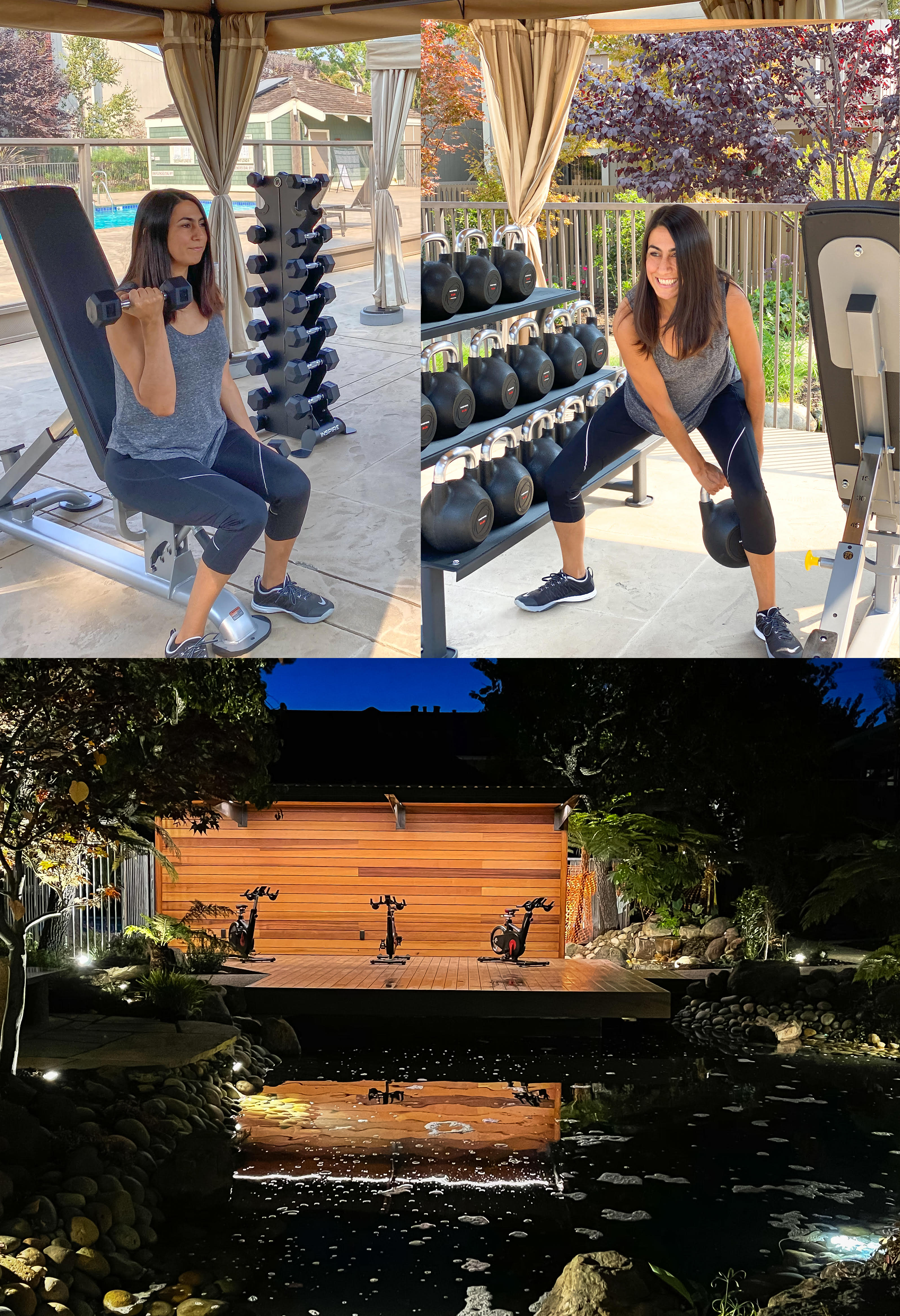 Resident working out at the fitness center at Greendale Apartments in Mountain View, California