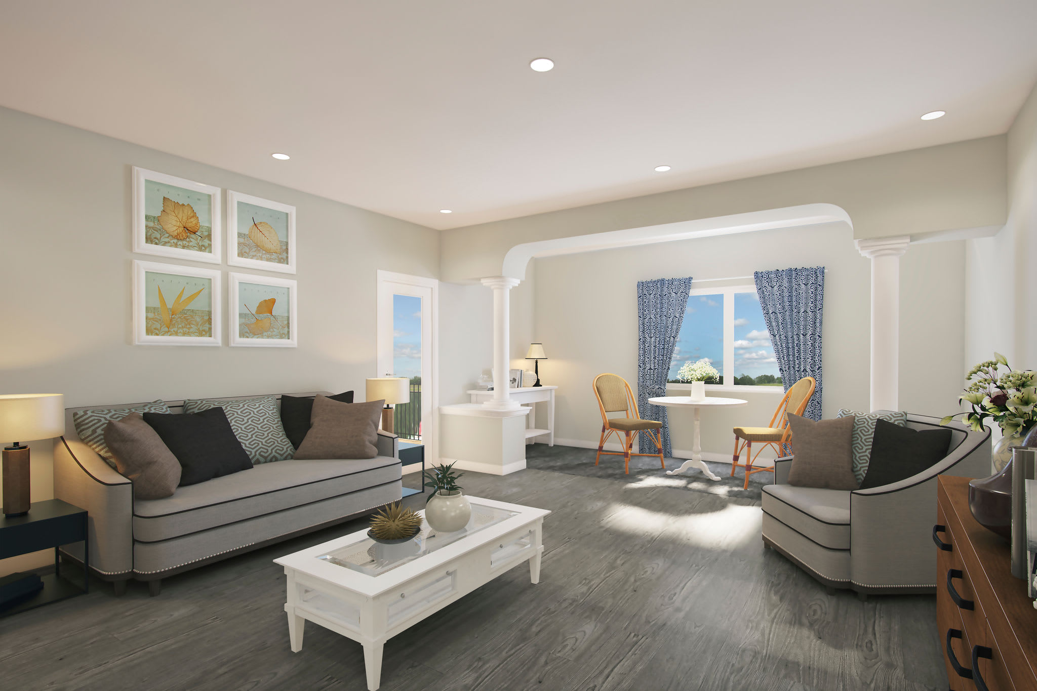 Model living room at Keystone Place at Richland Creek in O'Fallon, Illinois