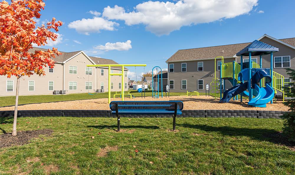 Modern playground at Avon Commons in Avon, New York