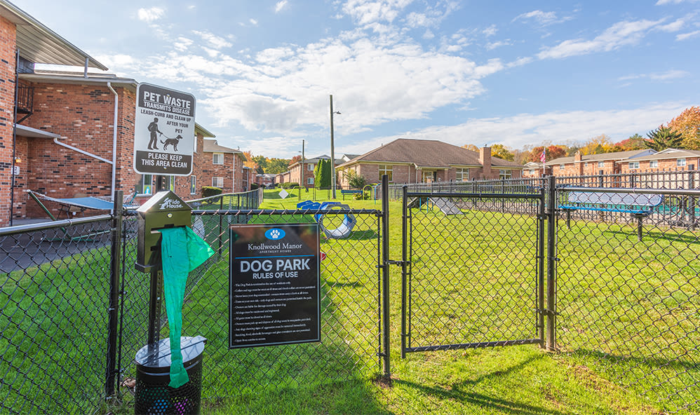 Dog park at Knollwood Manor Apartments in Fairport, New York