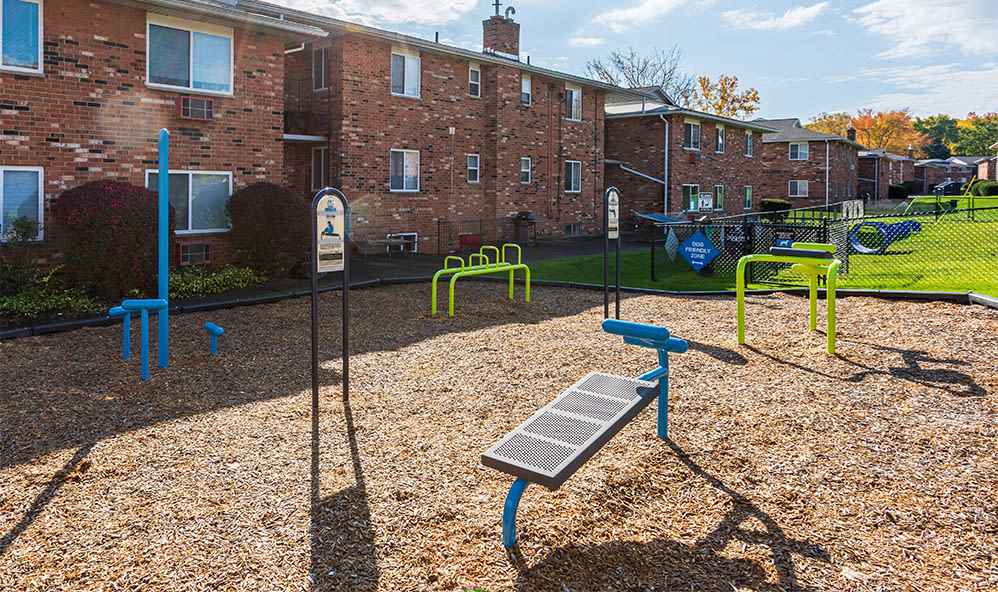 Outdoor fitness equipment at Knollwood Manor Apartments in Fairport, New York