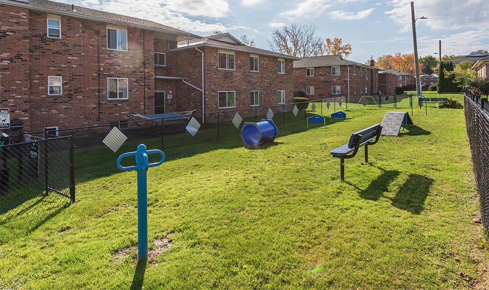 Outdoor fitness stations at Knollwood Manor Apartments in Fairport, New York