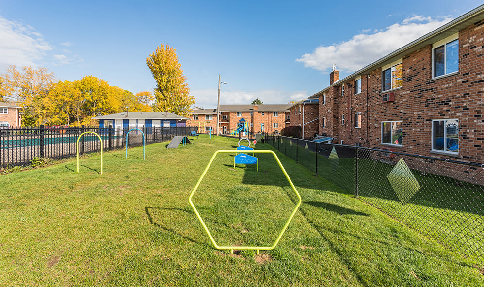Spacious dog park at Knollwood Manor Apartments in Fairport, New York