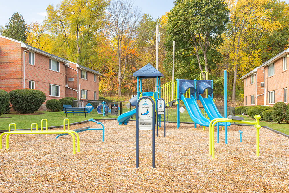 Outdoor fitness stations at Perinton Manor Apartments in Fairport, New York