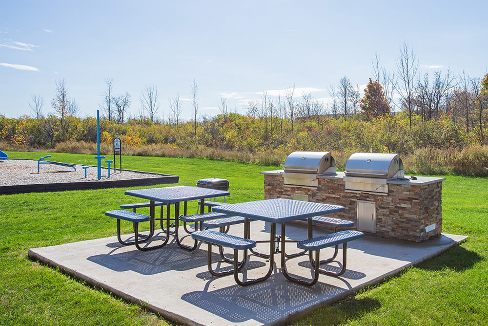 Grilling stations at Gateway Landing on the Canal in Rochester, New York