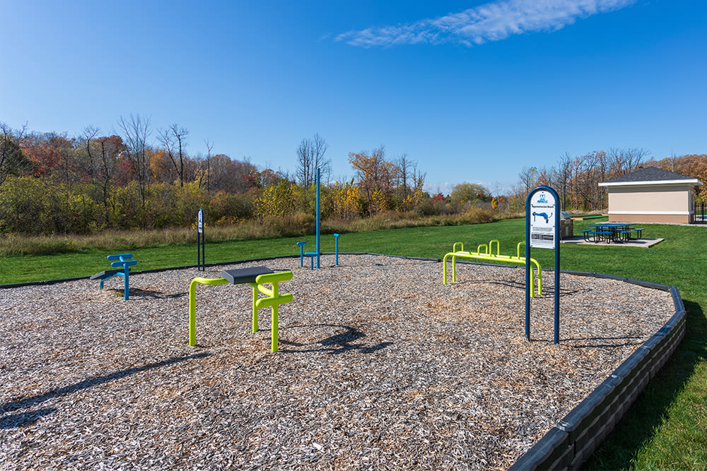 Outdoor fitness stations at Gateway Landing on the Canal in Rochester, New York