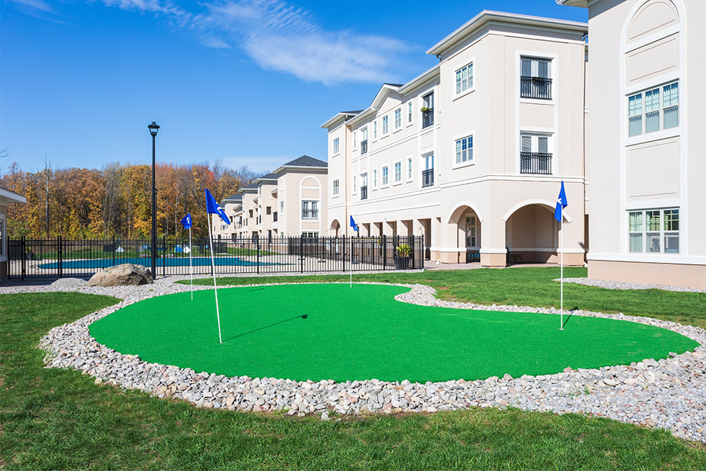 Putting green at Gateway Landing on the Canal in Rochester, New York