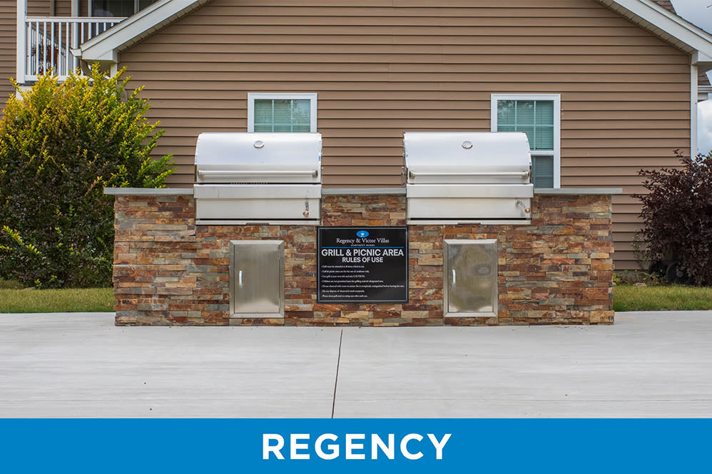 Grill stations at Regency & Victor Villas Apartments in Victor, New York