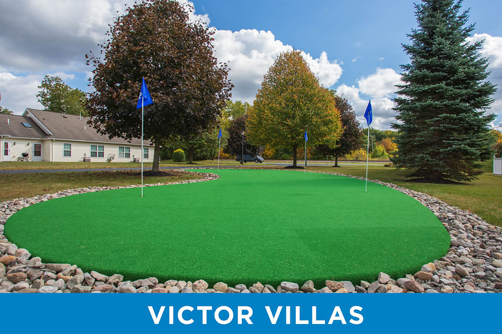 Large putting green at Regency & Victor Villas Apartments in Victor, New York
