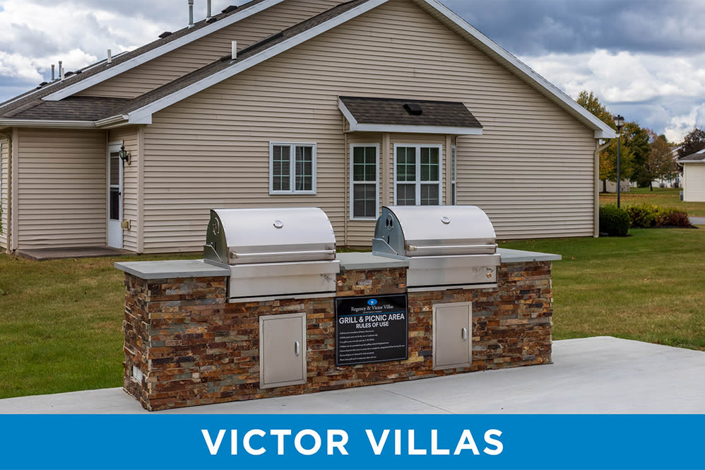 Grill and picnic area at Regency & Victor Villas Apartments in Victor, New York
