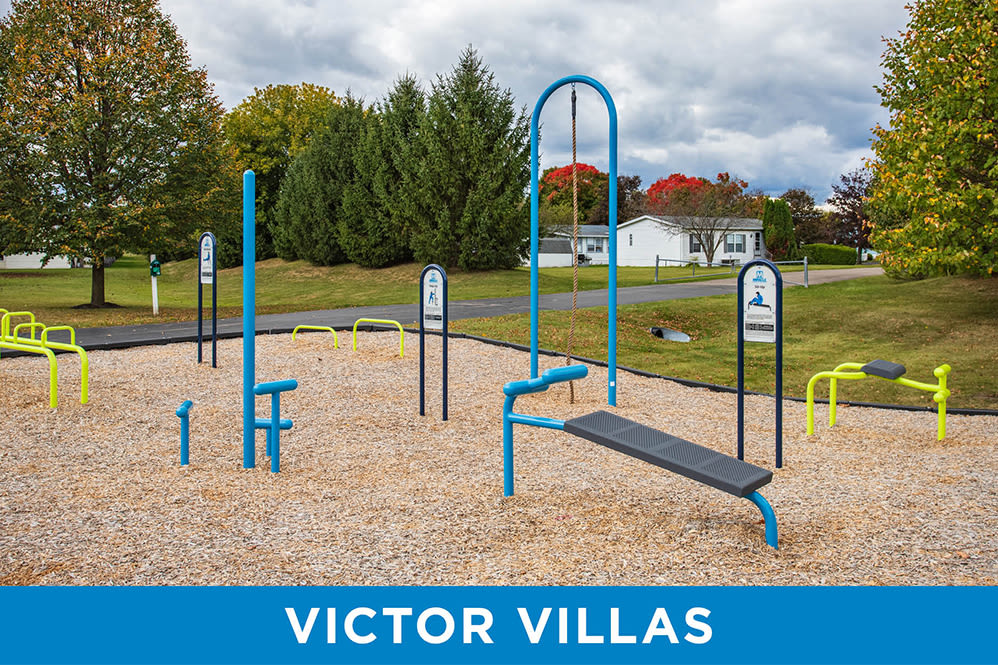Outdoor fitness stations at Regency & Victor Villas Apartments in Victor, New York