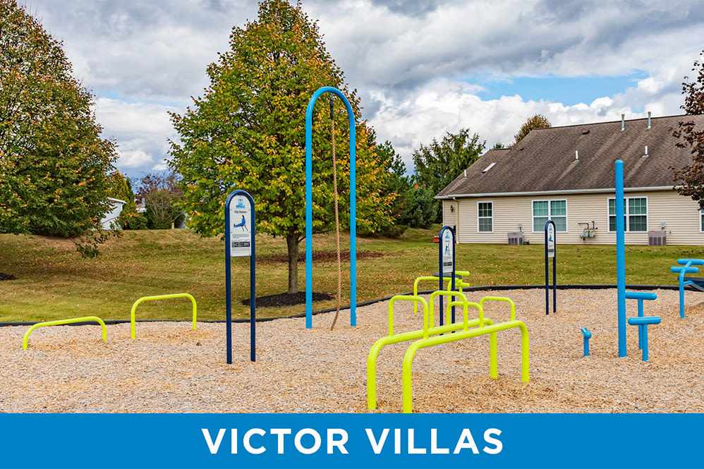 Outdoor fitness equipment at Regency & Victor Villas Apartments in Victor, New York