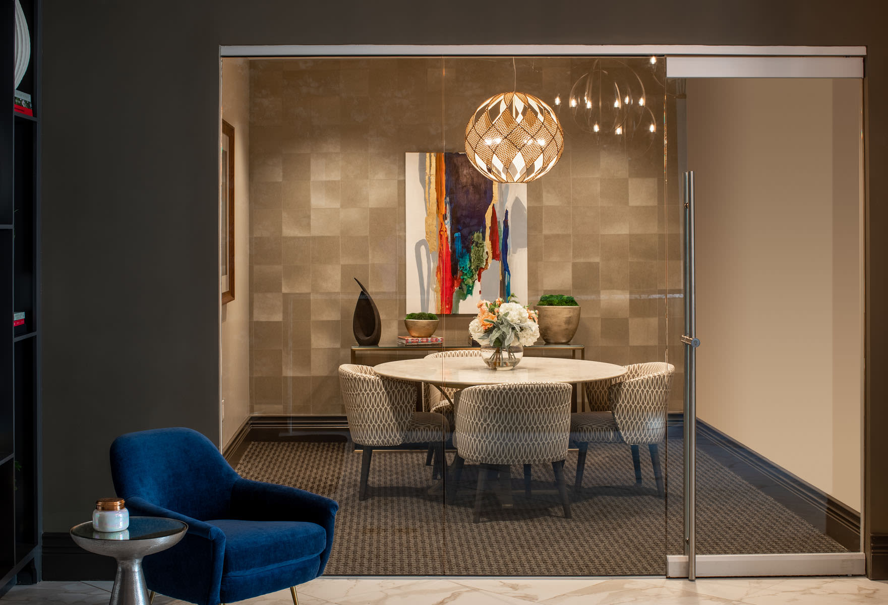 Private meeting area with relazing lighting at Magnolia Heights in San Antonio, Texas
