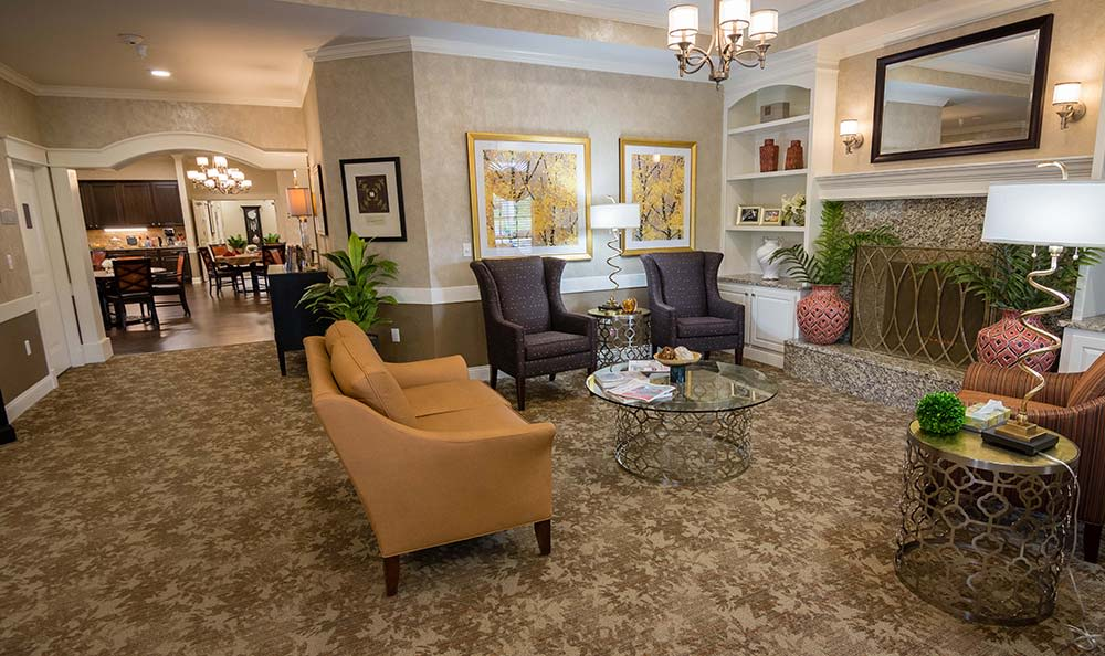 Foyer leading to community kitchen & dining area at Field Pointe Assisted Living in Saint Joseph, Missouri
