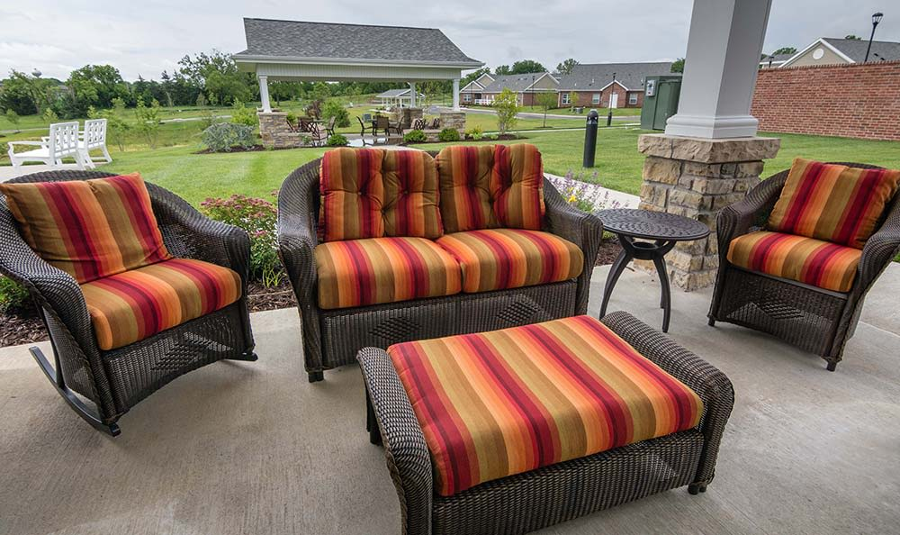 Outdoor sitting area with a view at Field Pointe Assisted Living in Saint Joseph, Missouri