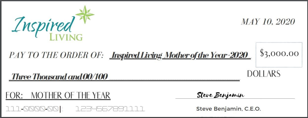 Mother of the year check at Inspired Living