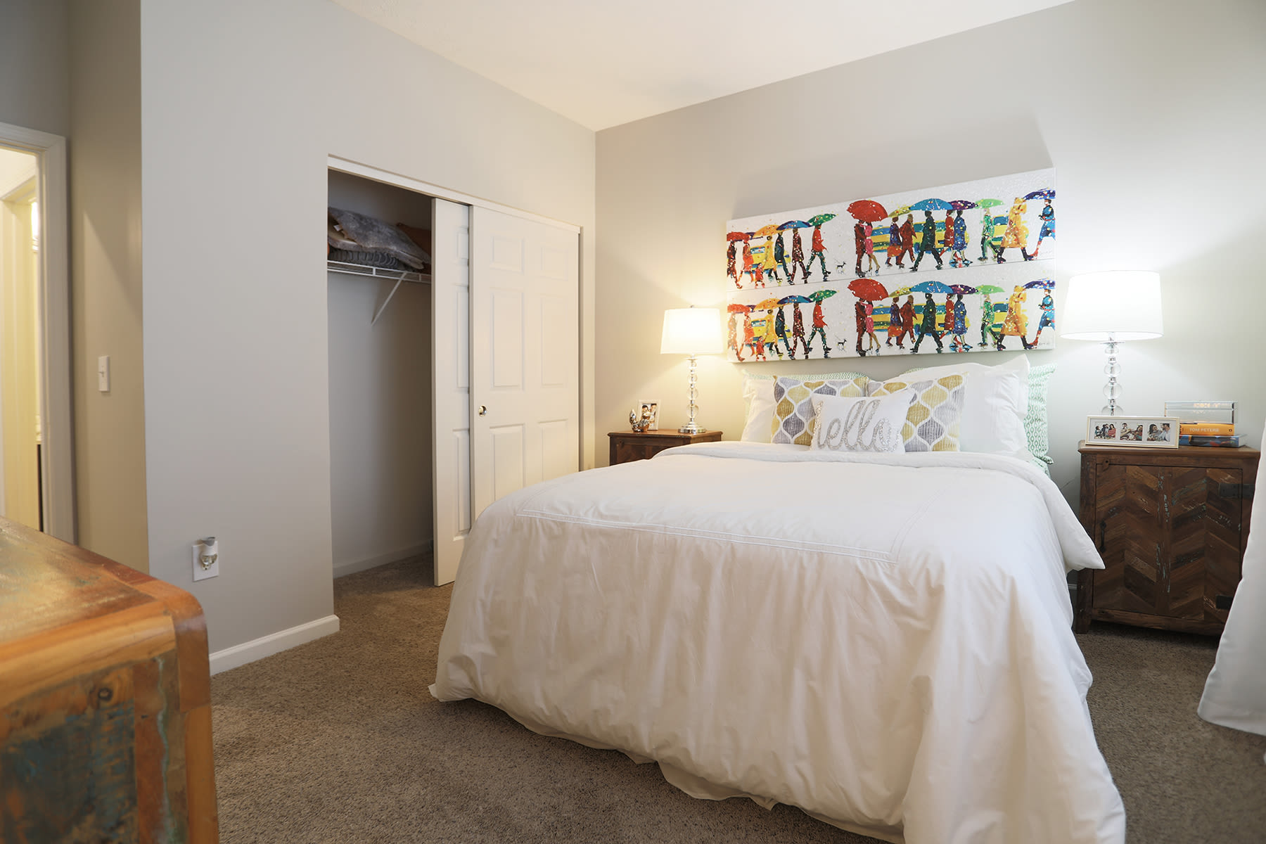 comfortable bedroom at The Landings at Beckett Ridge in West Chester, Ohio
