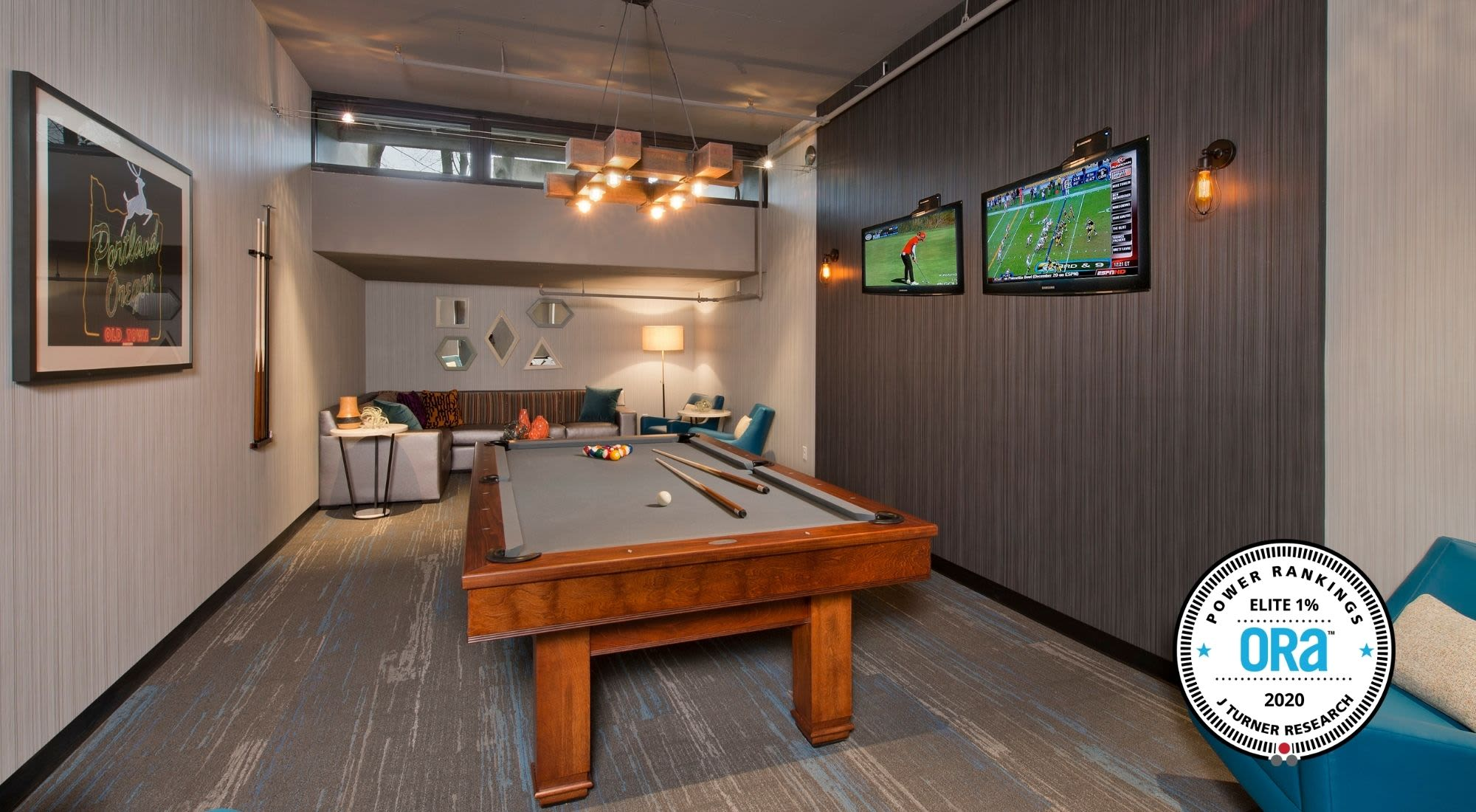 Billiards room and clubhouse at Harrison Tower in Portland, Oregon