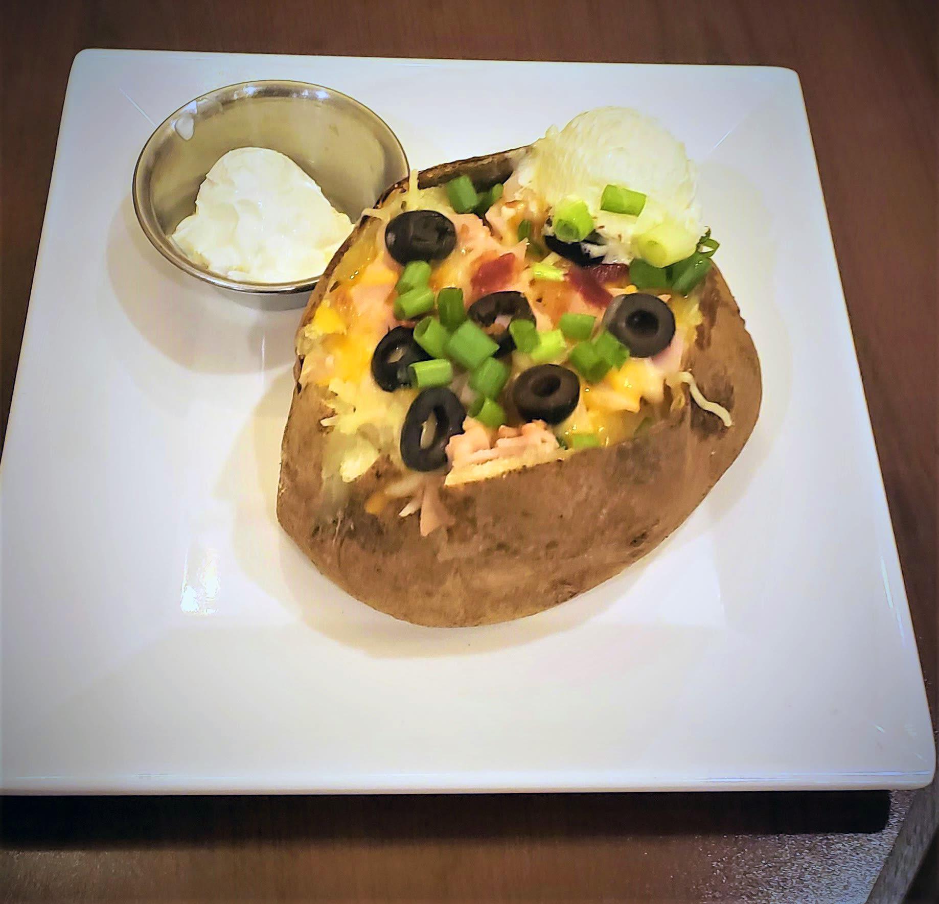 Loaded baked potato at Blossom Vale Senior Living