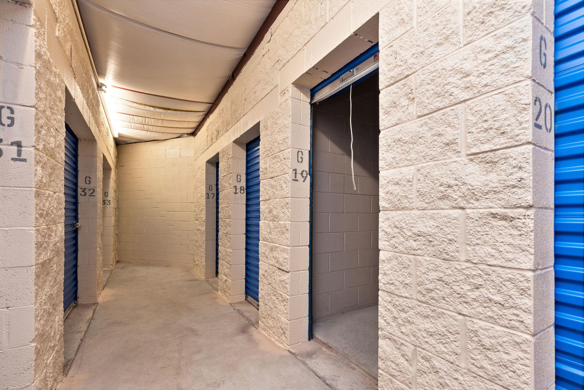 Storage units hallways open at Stor'em Self Storage in Lehi, Utah