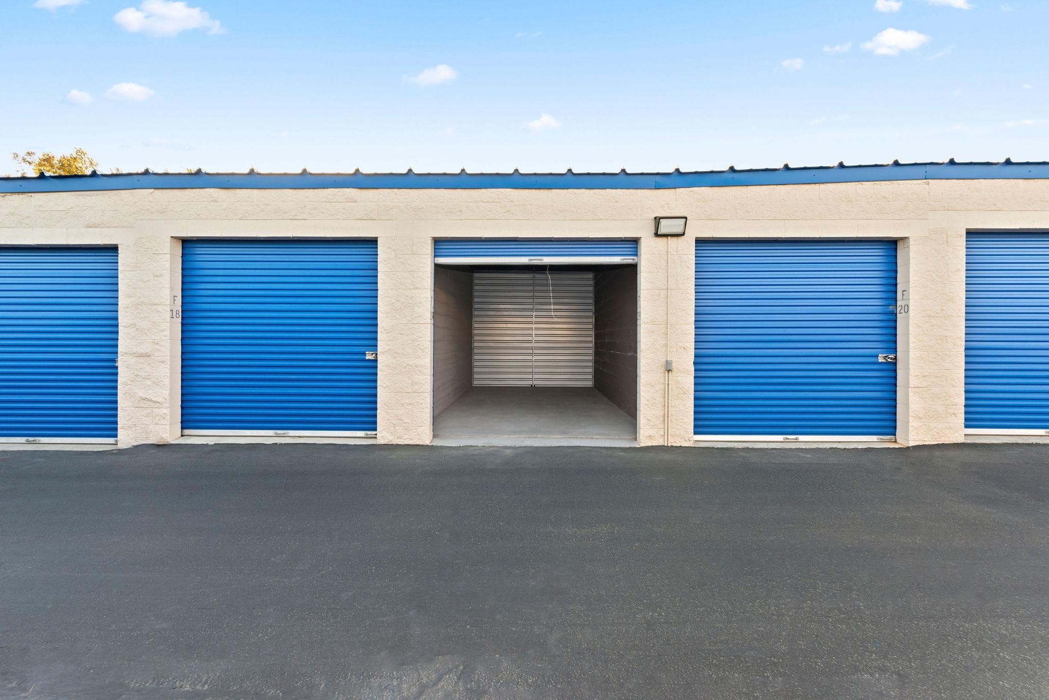 A storage unit doorway open at Stor'em Self Storage in Lehi, Utah