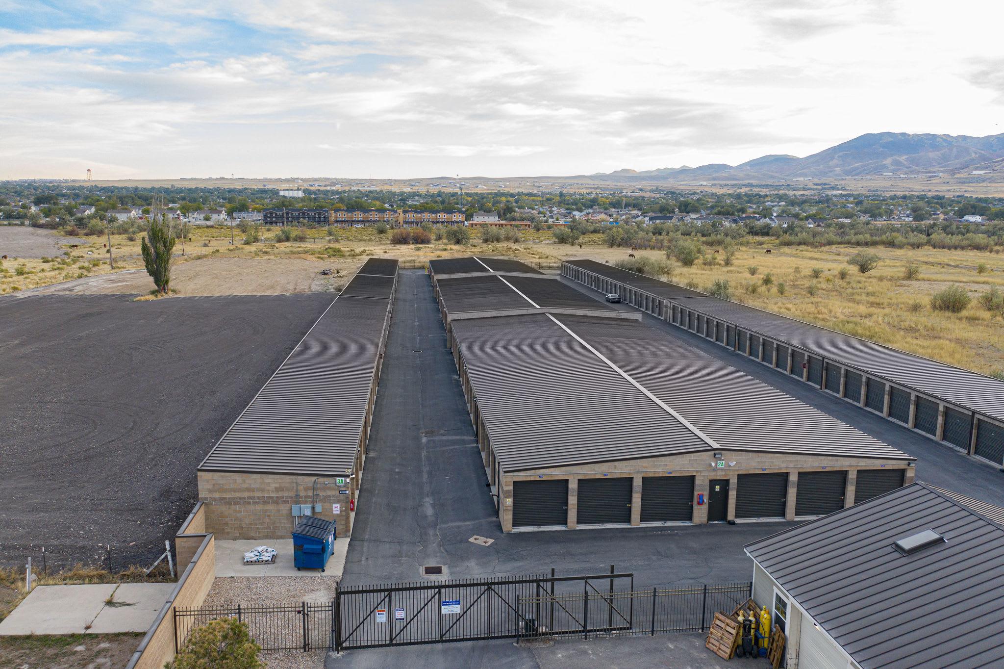 Aerial view of outdoor storage units at Stor'em Self Storage in Magna, Utah