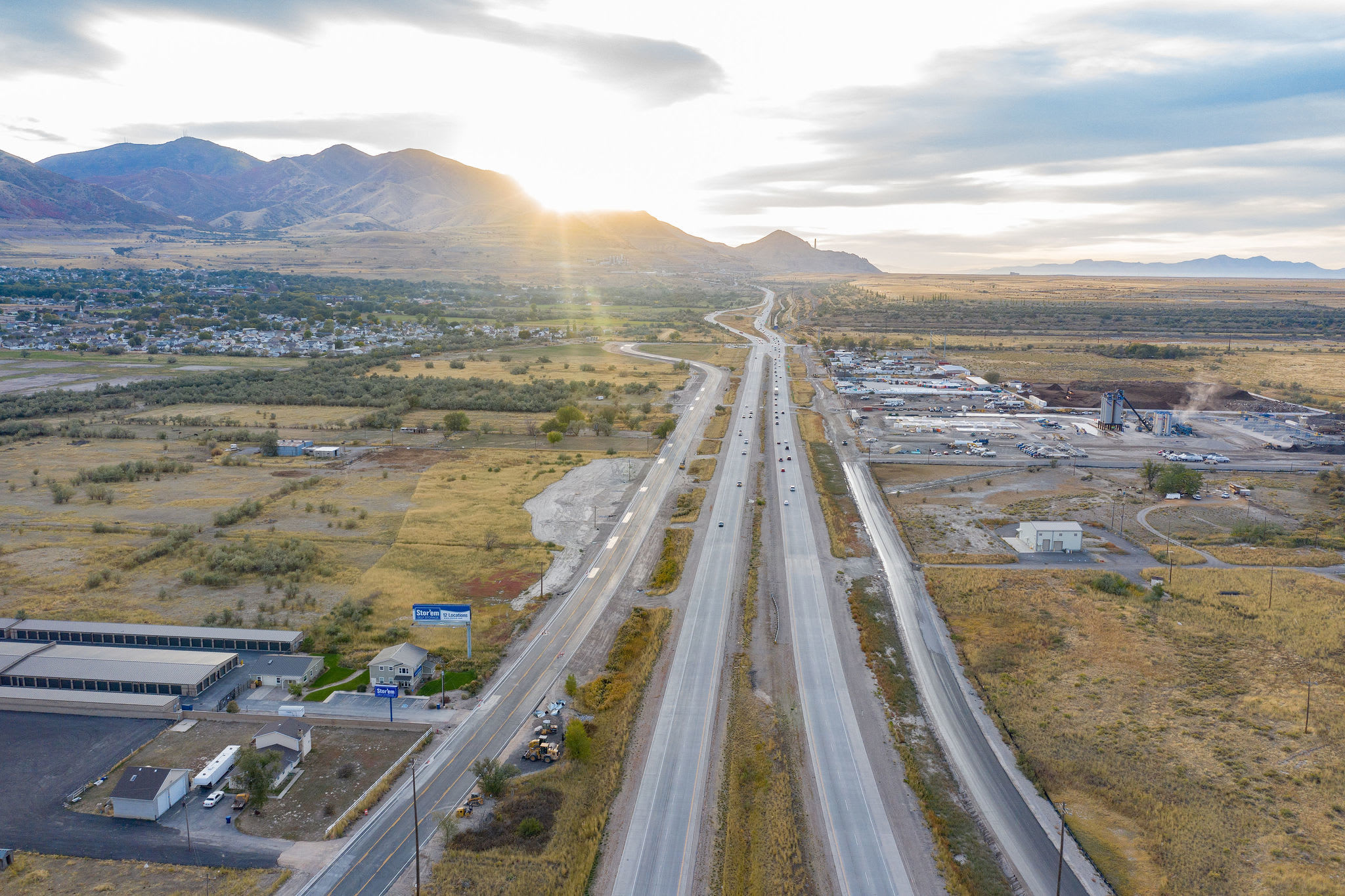 Aerial view of highway near Stor'em Self Storage in Magna, Utah