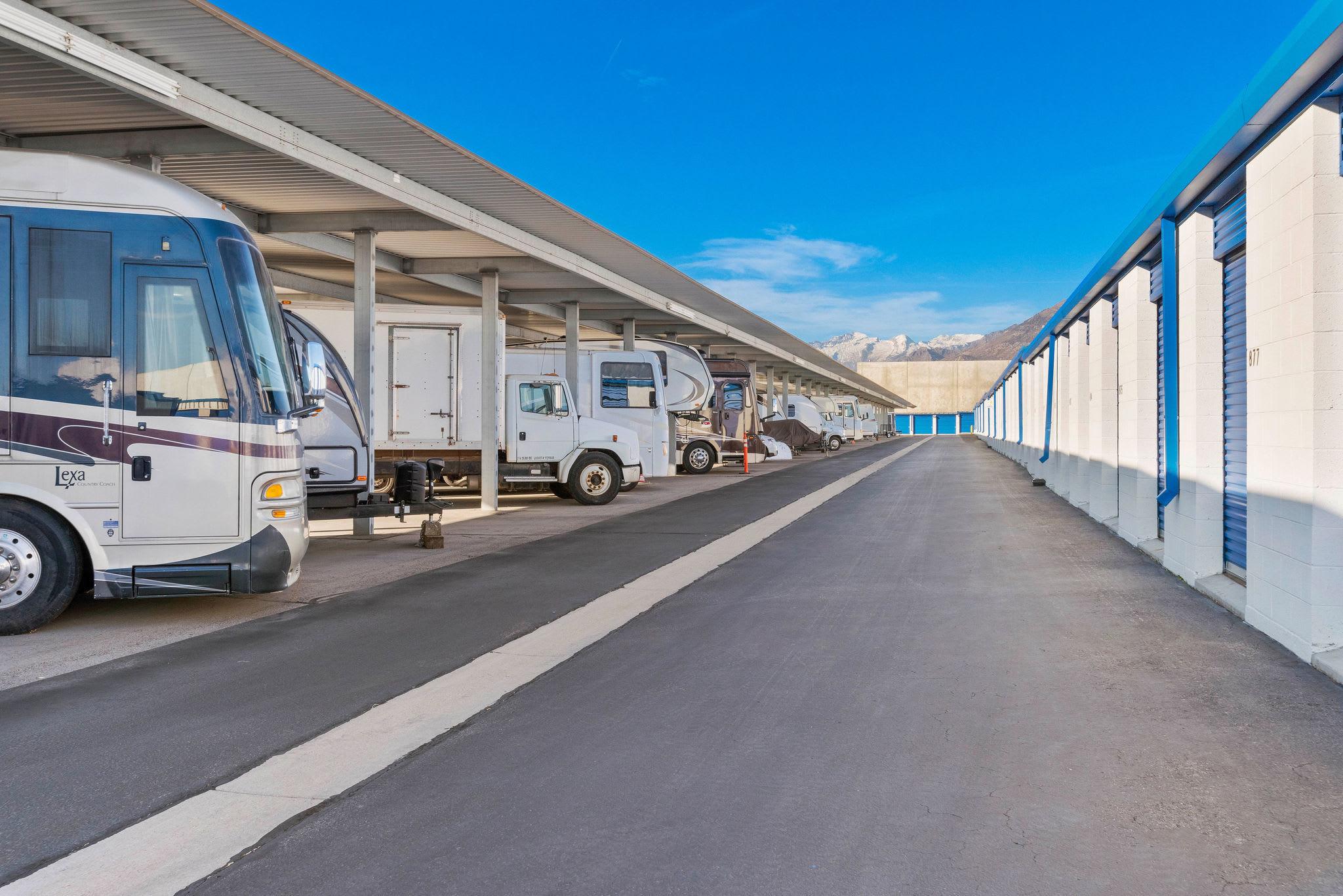 Covered RV parking at Stor'em Self Storage in Orem, Utah