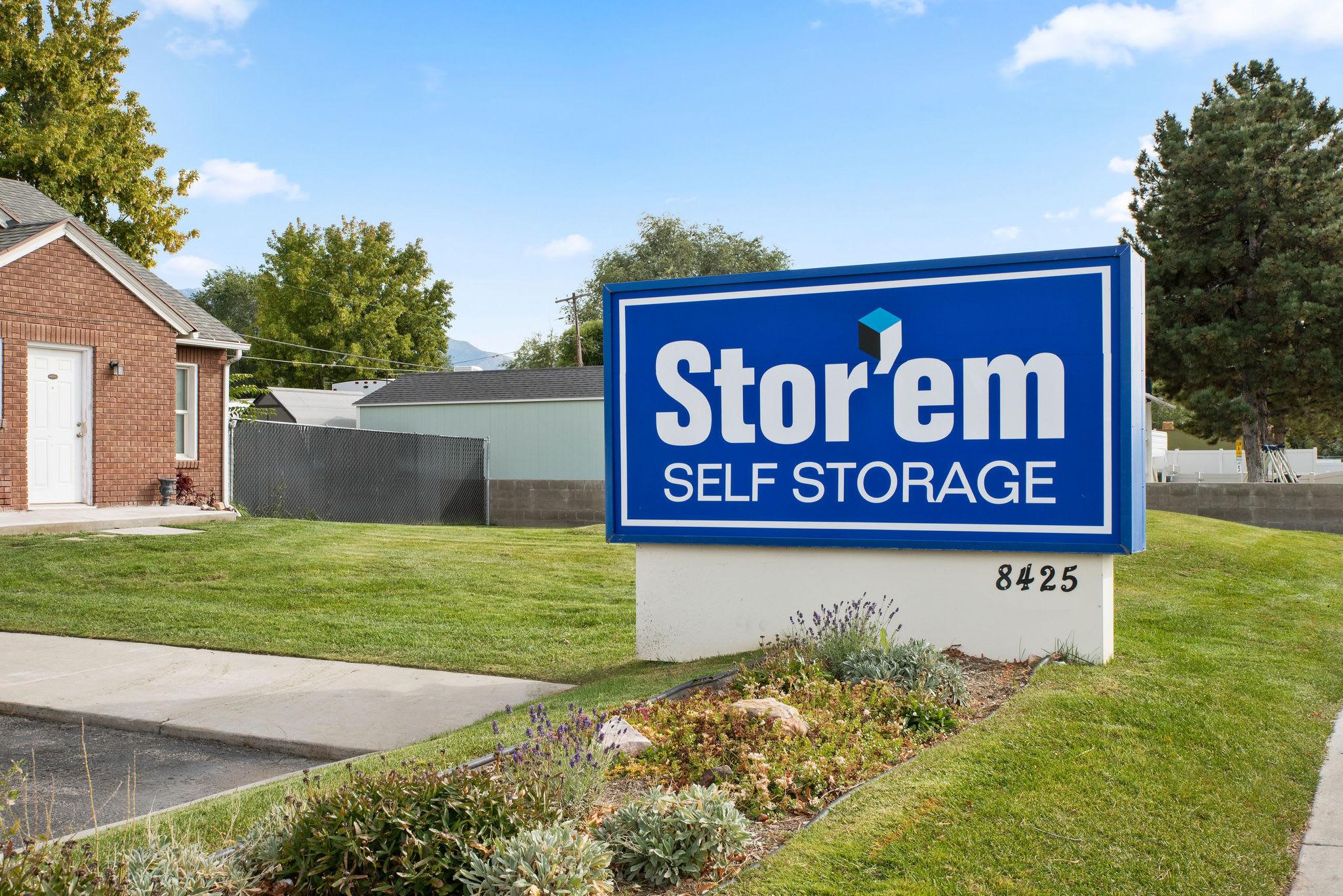 Street Signage of Stor'em Self Storage in Sandy, Utah
