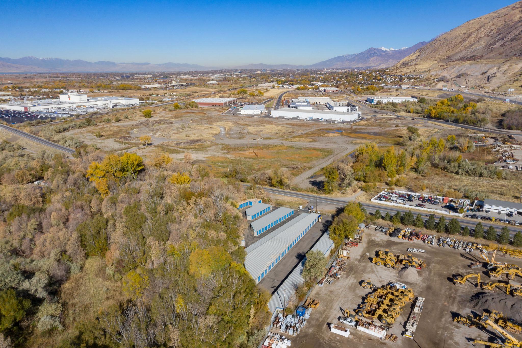 Aerial view of Storage units with Stor'em Self Storage in Springville, Utah