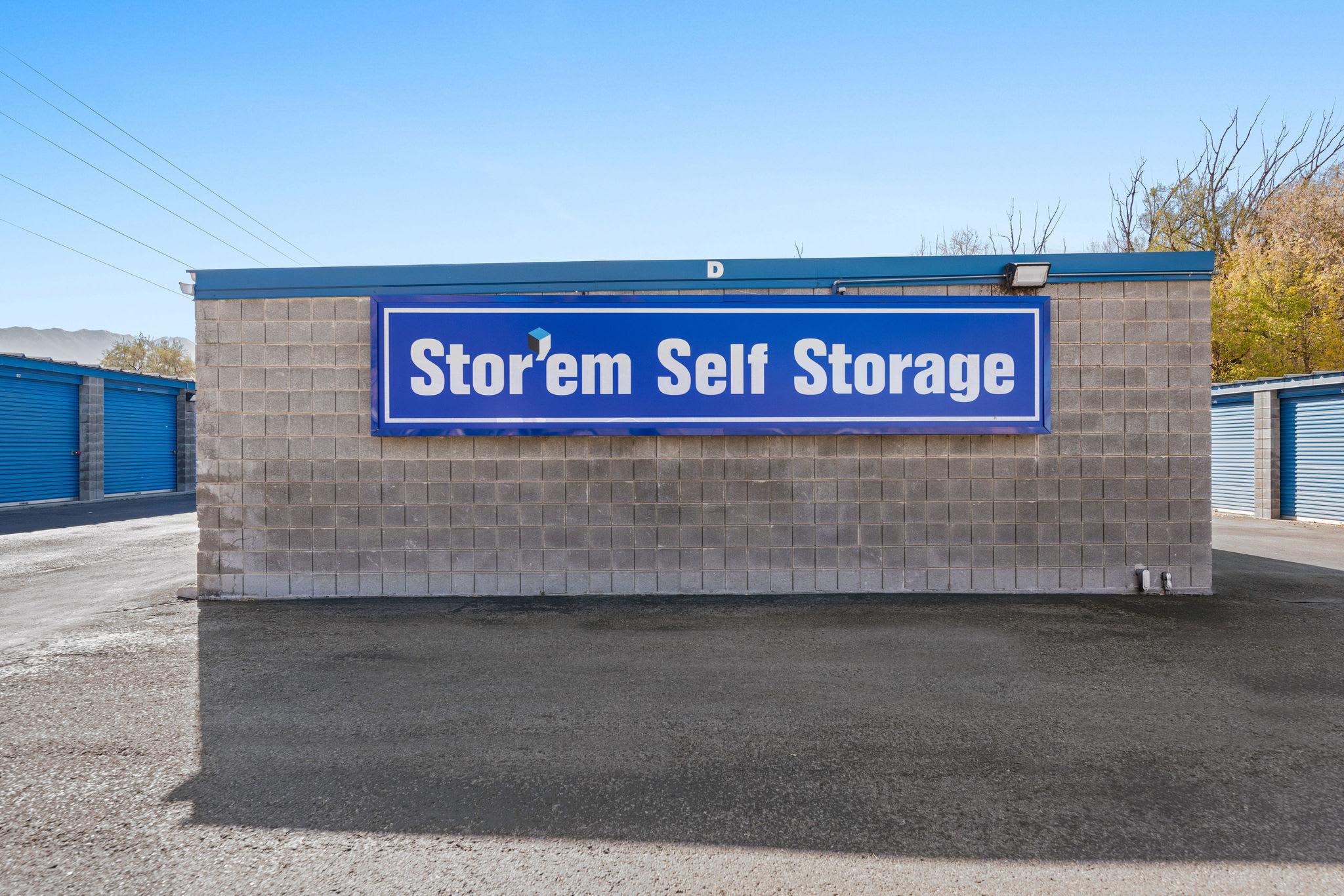 Logo on the front sign at Stor'em Self Storage in Springville, Utah
