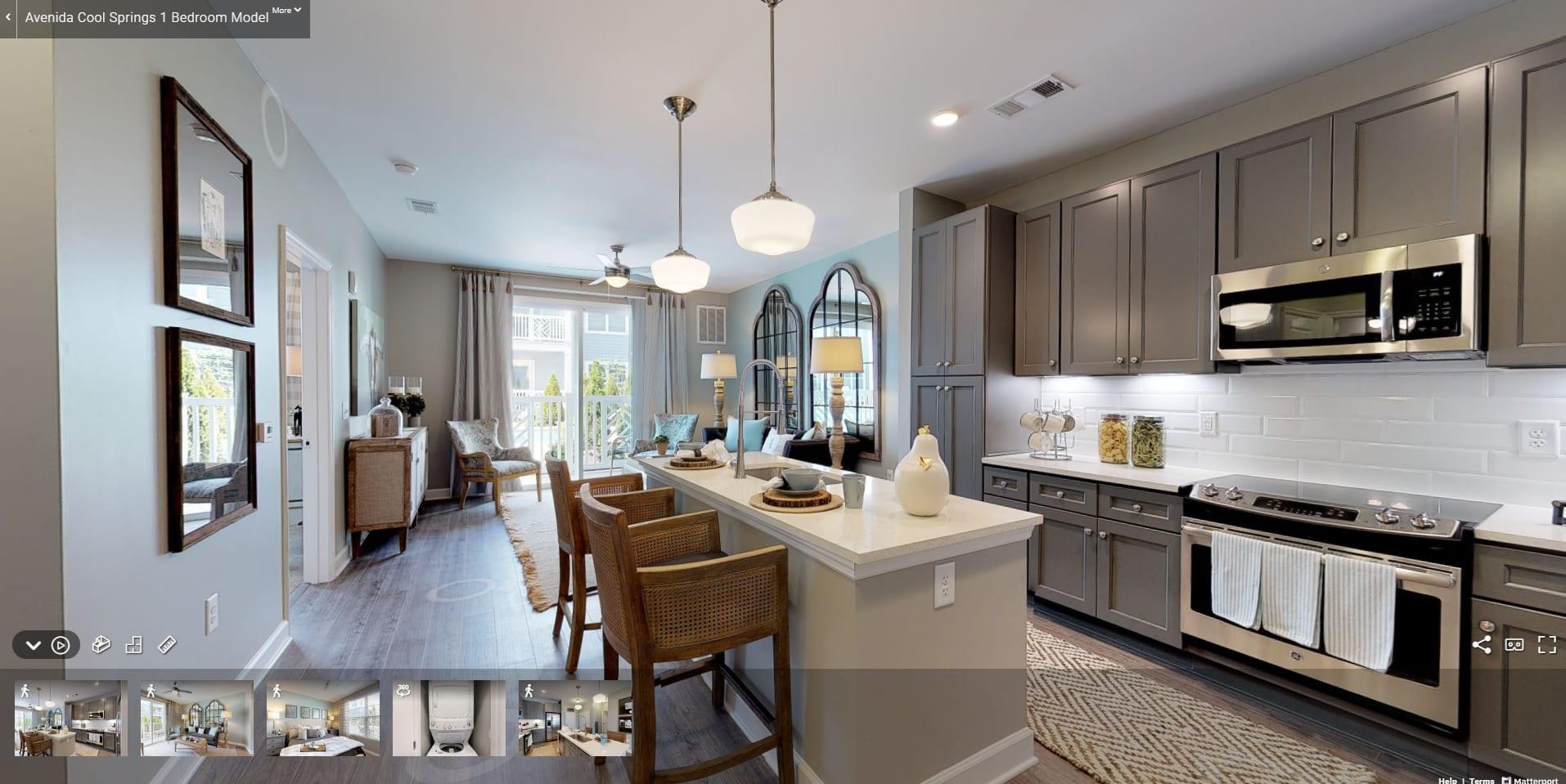 Modern Kitchen & Open Living Space at Avenida Cool Springs Active Senior Living in Franklin, TN
