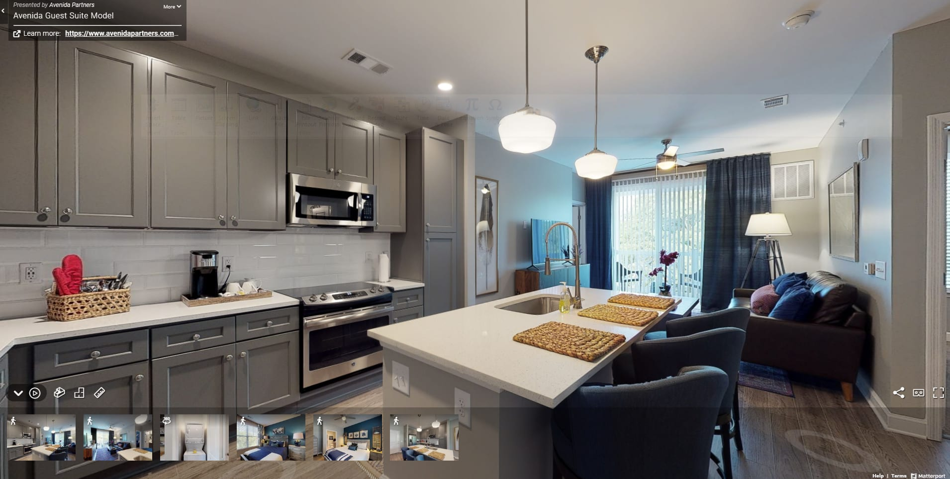 Kitchen Island and Stainless Steel Appliances at Avenida Cool Springs Active Senior Living in Franklin, TN