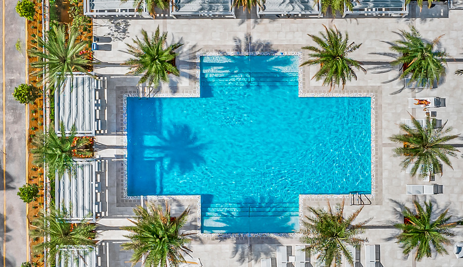 Aerial of Pool Deck at Marina Del Mar