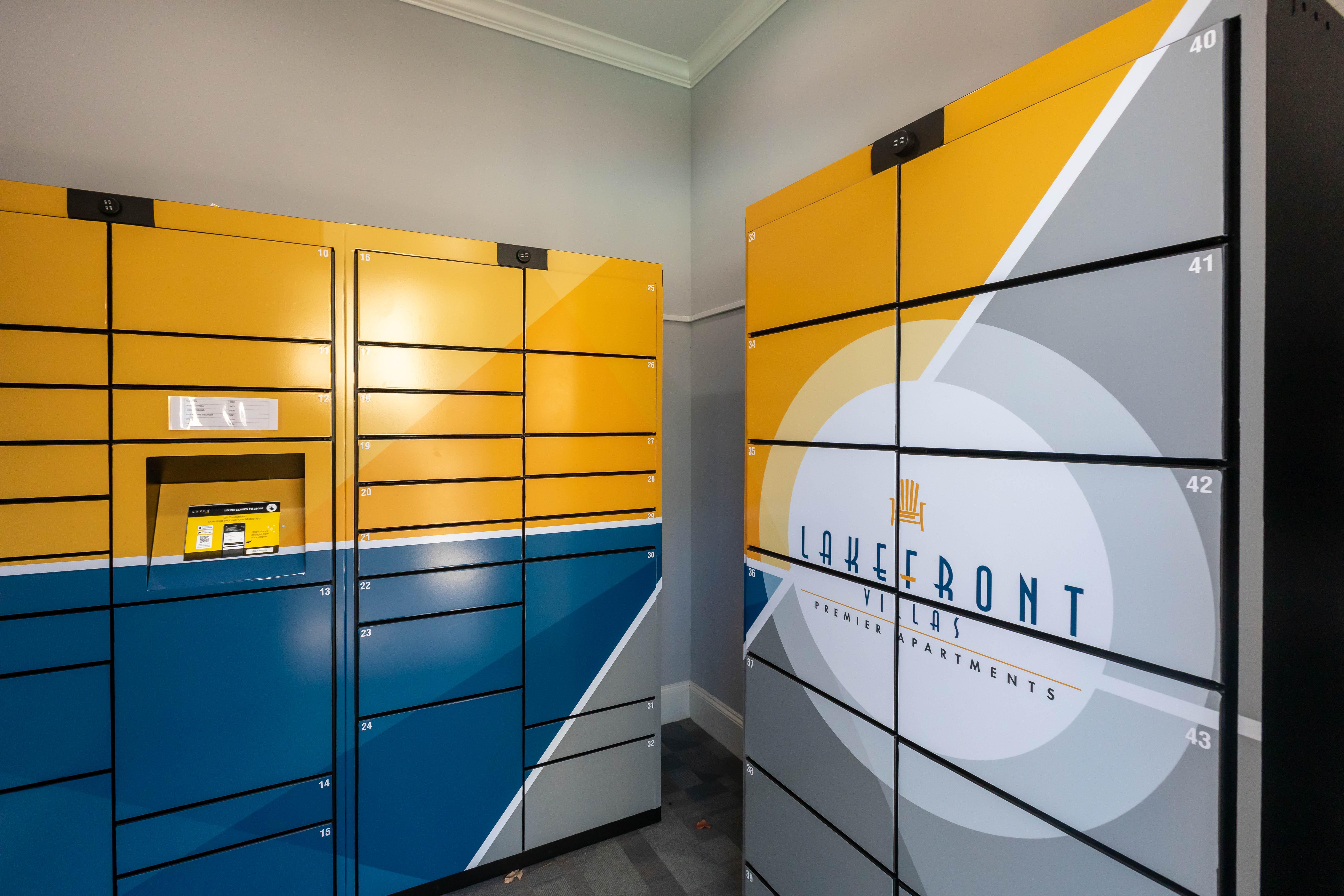 Resident package lockers at Lakefront Villas