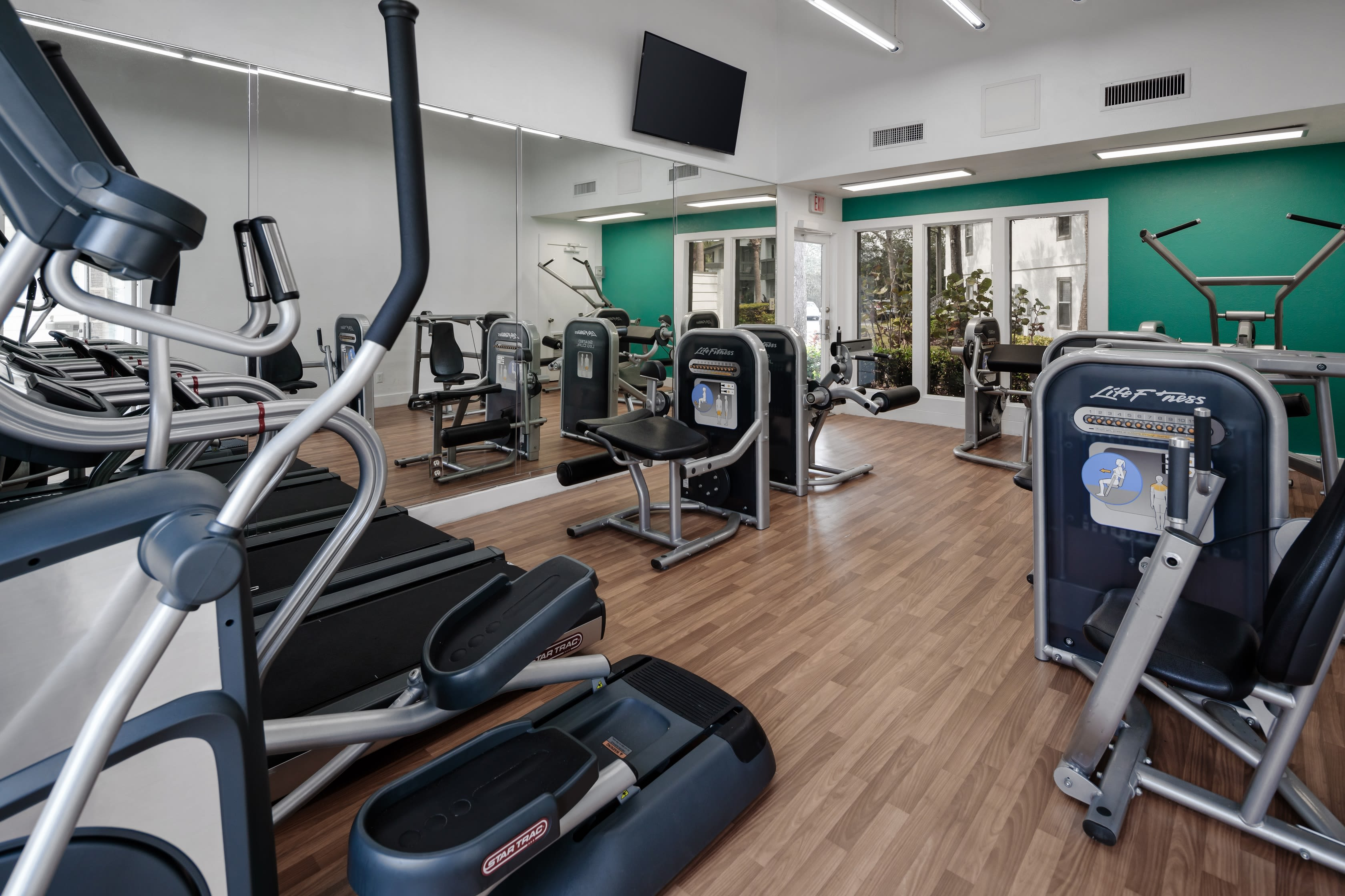 Modern fitness center at The Braxton in Palm Bay, FL