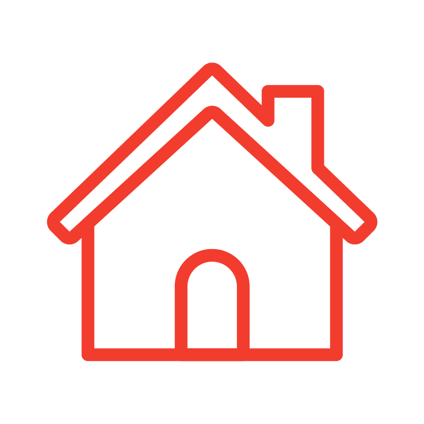 A house icon from Red Dot Storage in Bloomington, Illinois