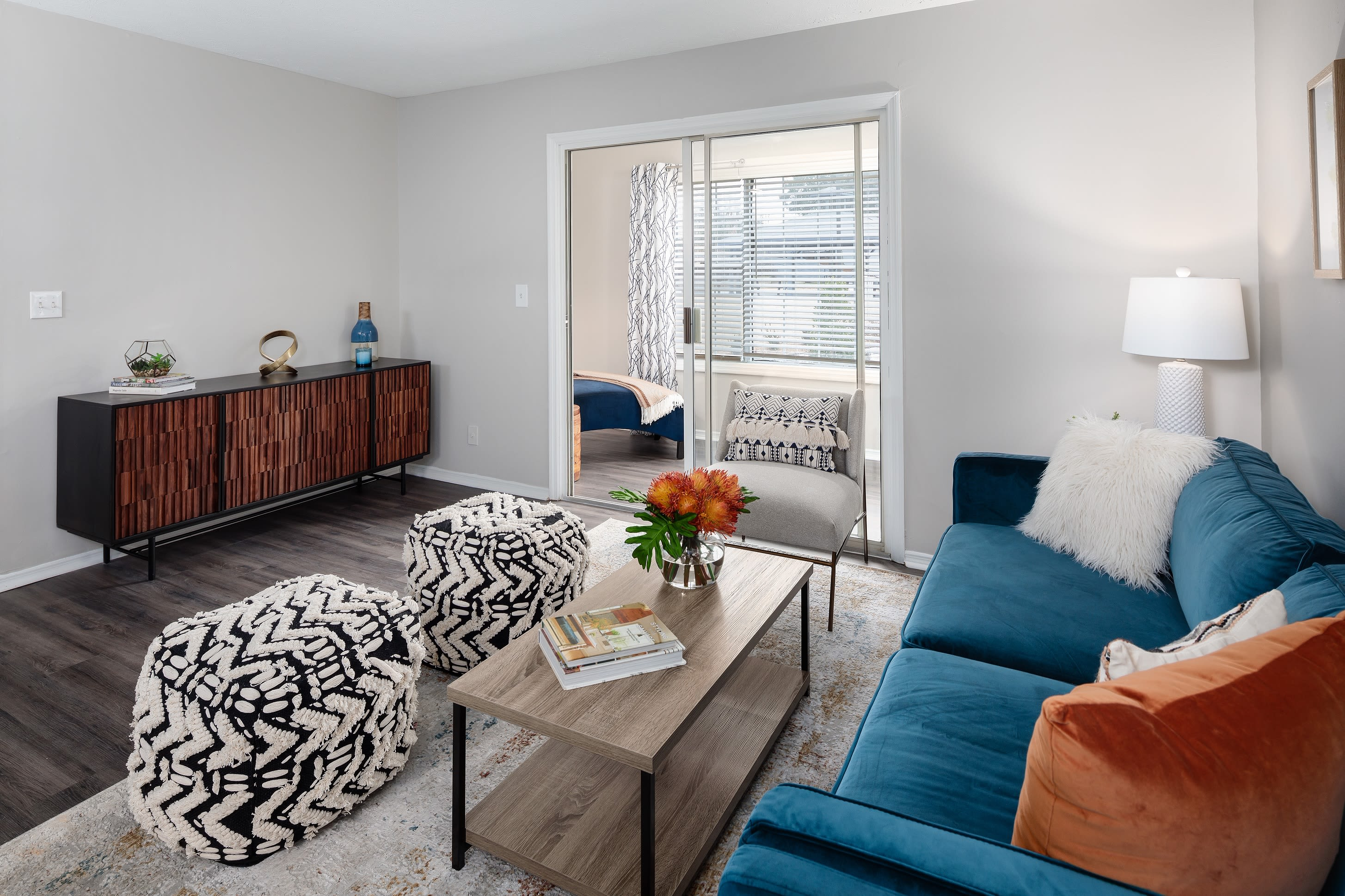 Spacious living rooms and sunrooms at The Bentley at Marietta in Marietta, GA