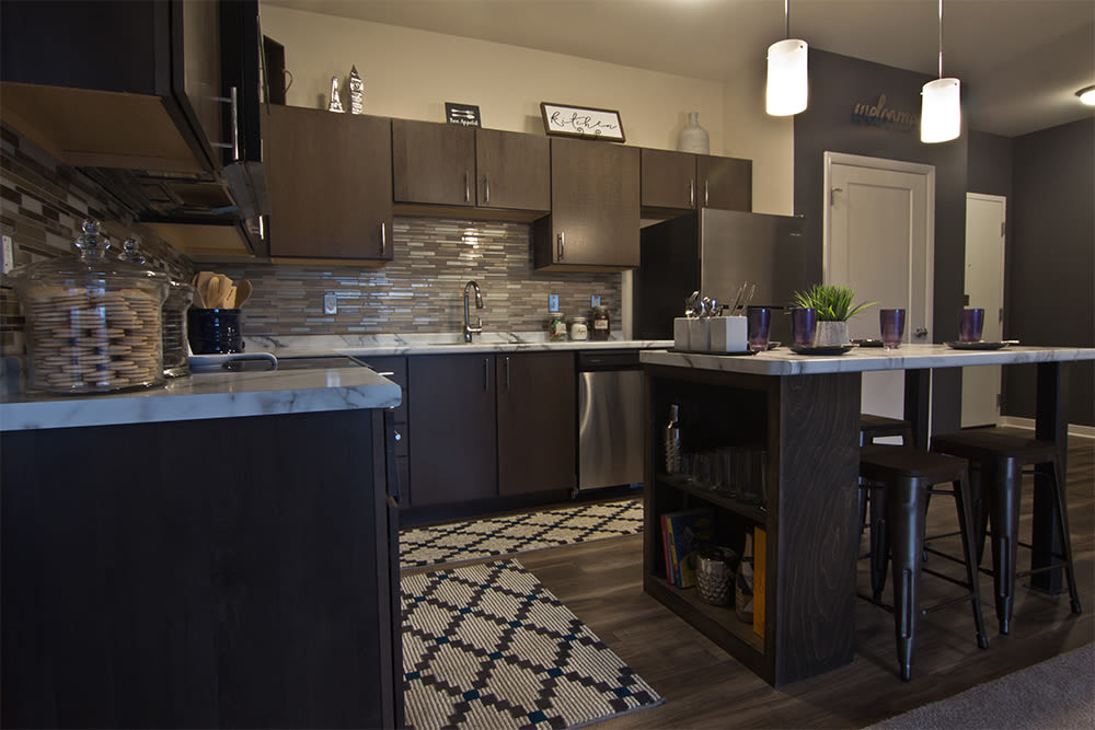 Modern kitchen at Park West 205 Apartment Homes in Pittsburgh, Pennsylvania